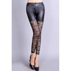 Black leather leggings with original openwork inserts