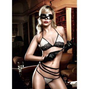 РАСПРОДАЖА! Agent Of Love Комплект бикини светло-бежевый с черным кружевом - Комплекты белья