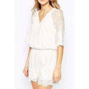 Белый кружевной ромпер - Пляжная одежда