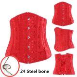 Red Jacquard Underbust Corset with 24 Steel Bones