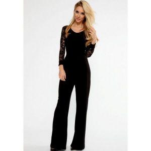 Black Flared Pant Lace Sleeve Jumpsuit. Артикул: IXI45425