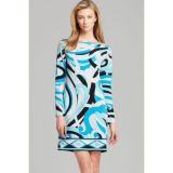 Michael Kors Petite Marquee Boatneck Print Dress