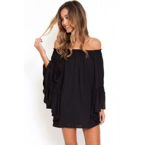 Black Ethereal Chiffon Mini Dress - Пляжная одежда