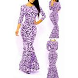 Evening Party Royal Tribal Mermaid Leaves Print Maxi Dress