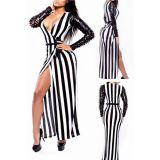 Sexy Jail Bait Striped Patchwork Maxi Club Dress