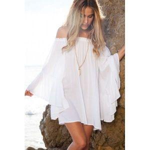 Белое шифоновое мини - платье с открытыми плечами - Пляжная одежда