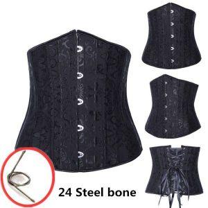 Plus Size Black Jacquard Underbust Corset with 24 Steel Bones. Артикул: IXI45677
