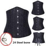 Plus Size Black Jacquard Underbust Corset with 24 Steel Bones