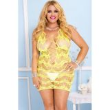 Plus Yellow Crocheted Lace Hollow-out Chemise Dress