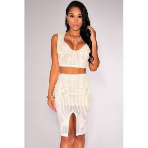 White Laser Cut Nude Illusion Skirt Set. Артикул: IXI45813