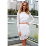White Paisley Patterned Lace Skirt Set