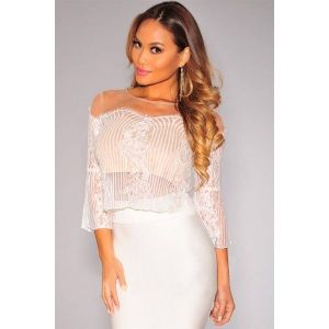 White Lace Nude Illusion Skirt Set. Артикул: IXI45851