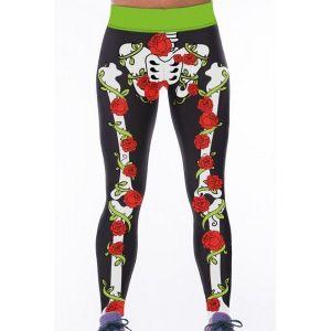 Леггинсы с необычным принтом роз на костях - Спортивная одежда