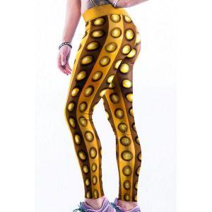 Золотистые леггинси из 3D принтом - Спортивная одежда