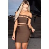 Coffee Off-shoulder Cut-out Bandage Dress