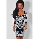 Climax Black White Scoop Neck Jacquard Print Dress