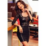 BLACK SLINKY DRESS-MINI LACE AND LACE