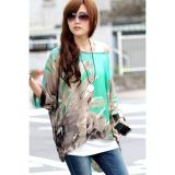 Batwing Sleeve Floral Print Loose-Fitting Chiffon Blouse