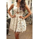 Hollowed Lace Skater Dress Sexy Outfit for Garden Party