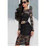Black Lace Overlay Long-sleeve Skirt Set -