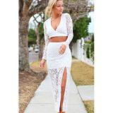 White Long Sleeve Fetish Lace Skirt Set