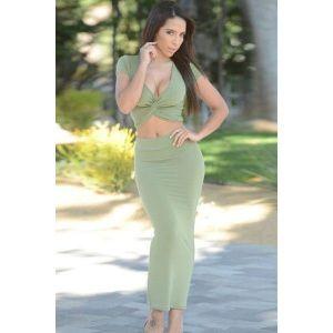 Olive Twist Crop Top Maxi Skirt Set. Артикул: IXI46072