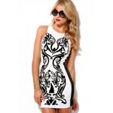 Retro Royal Leaf Print Mini Bandage Dress