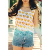 Sexy Summer Emoji Print Crop Top - ������ �����������!