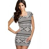 Aztec Print Mini Bodycon Dress