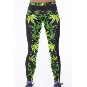Стильные леггинсы с зеленым принтом - Спортивная одежда
