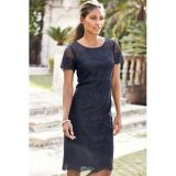 Royal Blue Relaxing Fit Short Sleeved Knee-length Lace Dress
