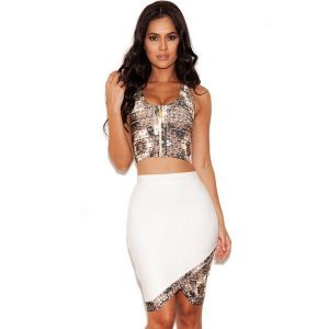 White set of pencil skirt and top