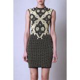 Sexy Sleeve 3D Honeycomb Knit Print Dress