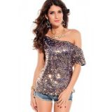 Seductive Off-shoulder Glistening Sequin Top Blue