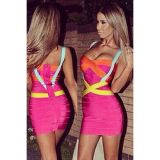 Hot Pink Blue Yellow Criss Cross Bandage Dress
