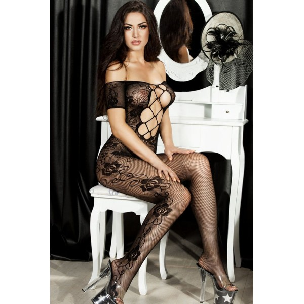 Lace body stocking with short sleeve tops and. Артикул: IXI46566