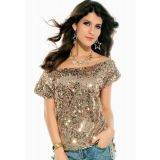 Seductive Off-shoulder Glistening Sequin Top Gray