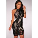 Black Lace Nude Illusion Key-Hole Back Dress