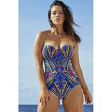 Sweetheart Bandeau Print One-piece Swimwear
