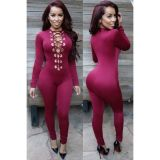 Wine Deep V Neck Lace up Front Onesies