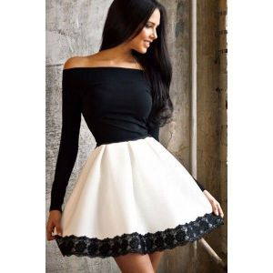 Black and white dress with open shoulders. Артикул: IXI46981