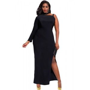 Black One Sleeve high Slit Plus Maxi Dress. Артикул: IXI46998