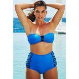 Blue swimsuit with high waist