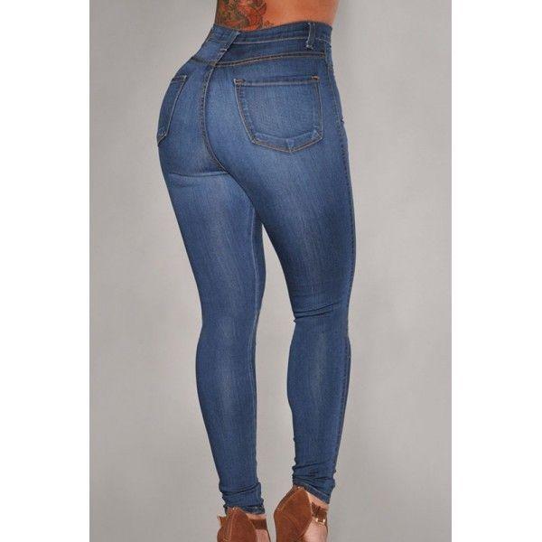 Dark Wash Denim High-Waist Skinny Jeans