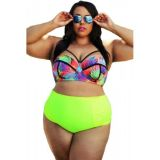 Curvy Girl Tropical Style High Waist Bathing Suit по оптовой цене
