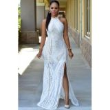 White Lace Nude Illusion Key-Hole Back Maxi Dress