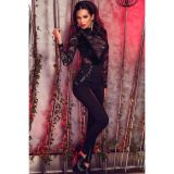 Black Velvet Lace Long Sleeve high Neck Bodysuit