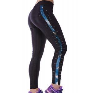 Черные леггинсы с принтом Галактика - Спортивная одежда