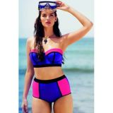 Sexy Underwired Bandeau Longline high Waist Swimwear