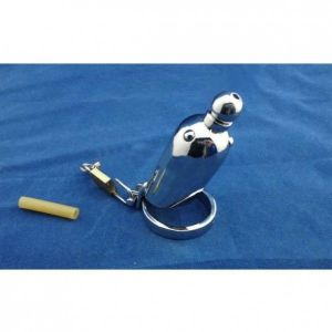 Stainless Steel male chastity device Raised / urethral tube cock cage
